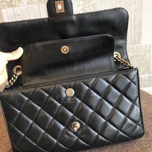 100% AUTH CHANEL BLACK PERFECT EDGE LARGE QUILTED LAMBSKIN 2-WAY FLAP BAG GHW image 9