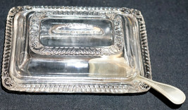 Antique Pressed Glass Covered Child Honey Dish with Spoon - $39.50
