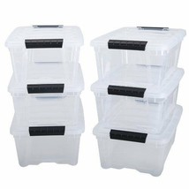 12 Quart Transparent Clear Stack Pull Box 6 Pack Clothes Storage Organiz... - $38.12