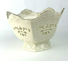 LENOX Scalloped Edge Bowl Dish 24K Gold Trim Pierced Footed Florish Cent... - $19.79