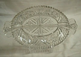 Stars & Bars Anchor Hocking 2 Part Relish Dish Clear Depression Glass Star Arch - $19.79
