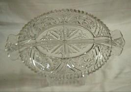 Stars & Bars Anchor Hocking 2 Part Relish Dish Clear Depression Glass St... - $19.79