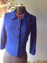 Tahari Arthur Levine Blue 3/4 Sleeve Short Suit Jacket Blazer SZ 4 - $38.60