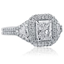 2 Carat Radiant Cut Trillion Side Diamond Engagement Ring Halo 18k White... - €3.568,79 EUR