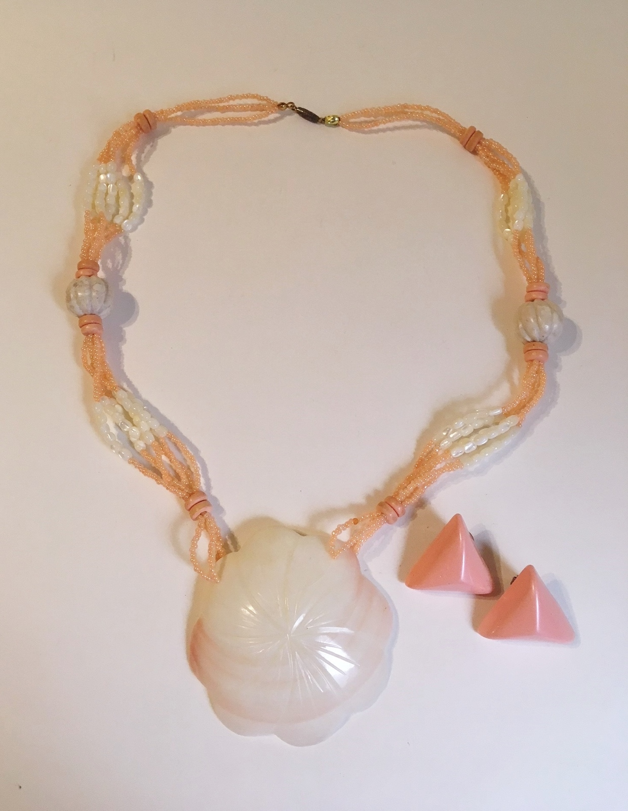 Shell Necklace Earring Set Pendant Pink Off White Beaded Triangle Post Handmade