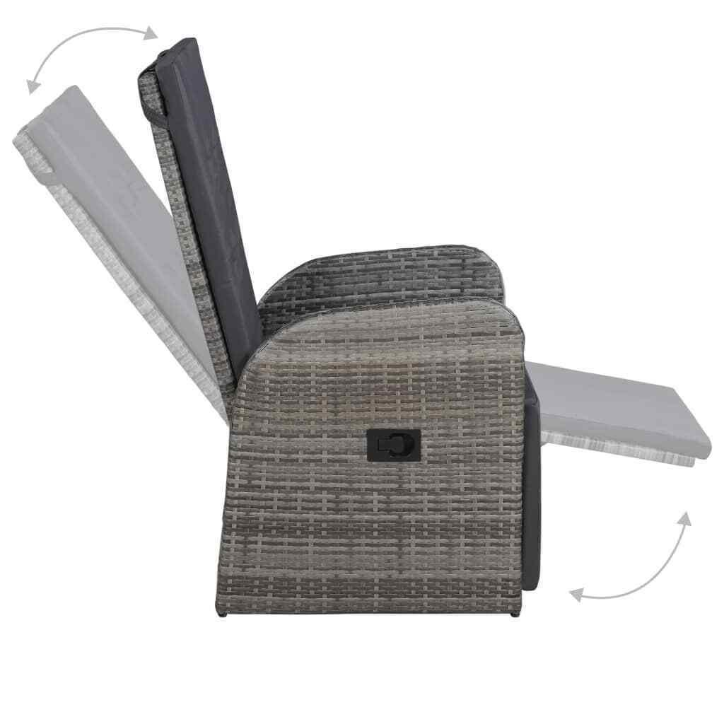 "vidaXL Outdoor Armchair Poly Rattan 41.3"" Gray Garden Wicker Patio Chairs"