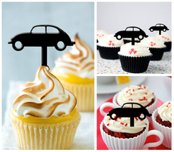 Decorations Wedding,Birthday Cupcake topper,silhouette volkswagen vintag... - $10.00