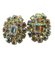 VINTAGE JULIANA TARA D&E AURORA BOREALIS & RHINESTONE OVAL EARRINGS 1960... - $71.99