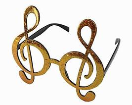 Funny Party Glasses Adorable Glasses Party Supply Musical Note Golden - $12.50