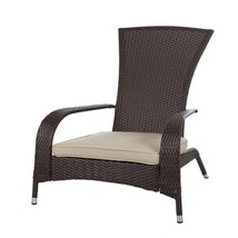 Outdoor Chair Furniture with Beige Cushion Lightweight Unique Relaxing V... - $110.99