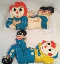 Vtg Raggedy Ann Raggedy Andy Wall Decor Plastic Plaques Bobbs Merrill Sy... - $12.85