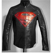 New Handmade Men Black With Red Super Man logo Motorcycle Leather jacket... - $169.99