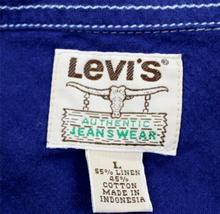NEW LEVI'S MEN'S LINEN LONG SLEEVE BUTTON UP CASUAL DRESS SHIRT BLUE 8151400 image 6