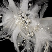 Bridal Belt Rhinestone Crystal Feather Wedding Sash White Ivory or Black... - $123.45