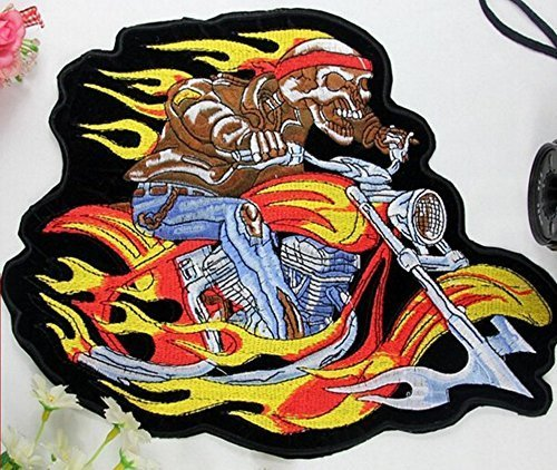 Motorcycles Flaming Skeleton Embroidered Patch Iron On Patch Bike Rider Large Si