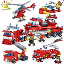 348pcs Fire Fighting Car Helicopter Boat Building Blocks Compatible Lego... - $15.99