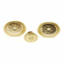 Vintage Mens Cufflinks + Tie Tack Gold Tone W Stone 1970S Mens Vintage Jewelry - $26.39