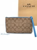 NWT New Coach F58695 Large Wristlet Wallet Signature PVC Khaki Bright Bl... - $49.95