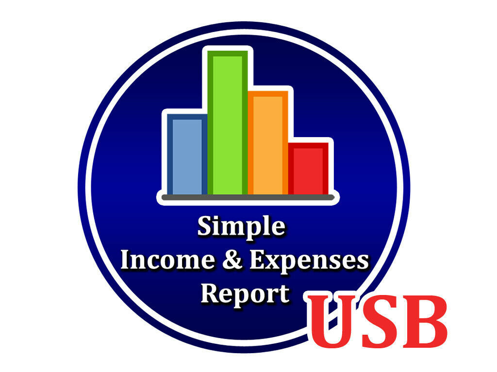 Primary image for Simple Income And Expenses Report Program for Windows Computer PC Accounting USB