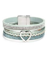 ALLYES Heart Charm Leather Bracelets for Women Femme Braided Rope Wide Multilaye - $12.78
