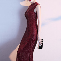 Burgundy Sequin Maxi Formal Dress High Waist V Neck Sequin Dress Wedding Gowns image 6