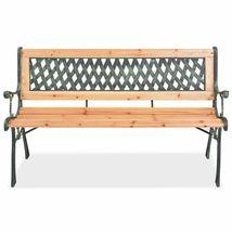 vidaXL Patio Wooden Garden Bench w/ Backrest Vintage Seat Diamond/Rose Design image 9