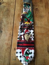 Looney Tunes Christmas Necktie Tie Taz Marvin Bugs Taz Daffy Warner Bros - $13.29