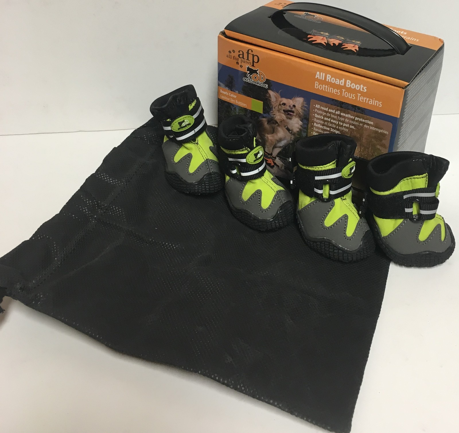 """Pet All Road Boots Sz Small (2"""") Neon Green & Gray 4 In Set  image 4"""