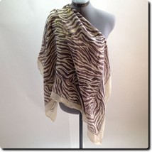 Closeout - Brown and Gold Zebra Scarf 38 x 36 - $11.65