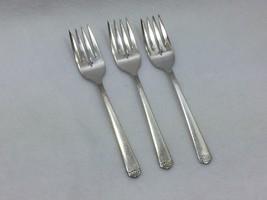 3 Vintage 1881 Rogers Oneida Silverplate Surf Club Salad Fork 25089 Forks - $39.55