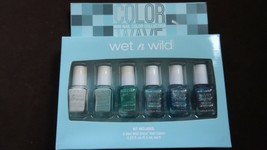 WET N WILD - COLOR WAVE - 6 mini nail polish collection - wild shine - NEW Blues - $5.99
