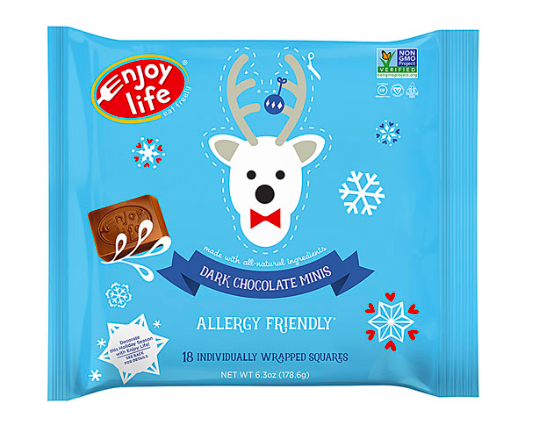 Keto Candy: Enjoy Life Holiday Chocolate Minis Dark Chocolate bag (4 net carbs)