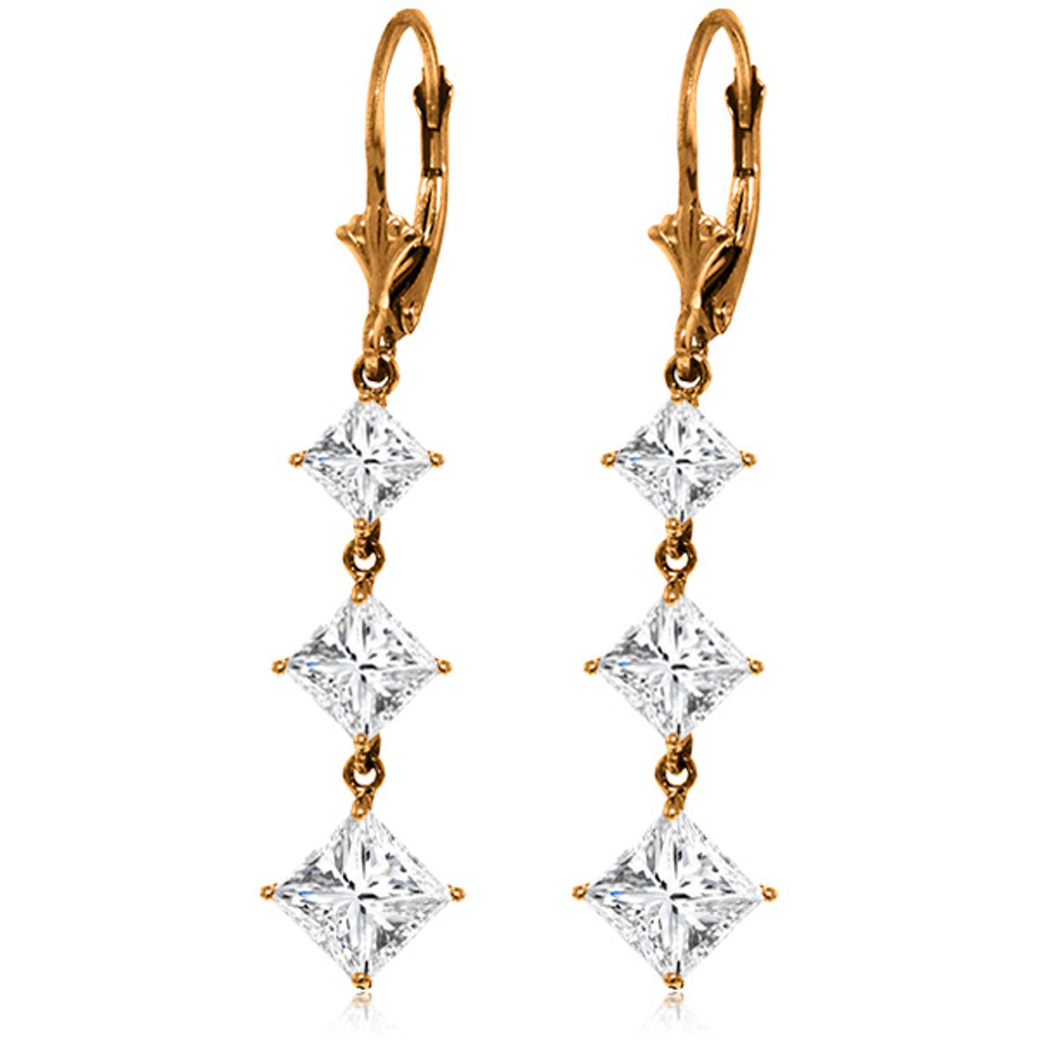 Primary image for Womens Girls 14K Solid Rose Gold Cubic Zirconia Leverback Chandelier Earrings
