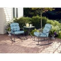 Table Rocking Chair Blue Steel Frame 3 Piece Outdoor Bistro Furniture Se... - $206.48