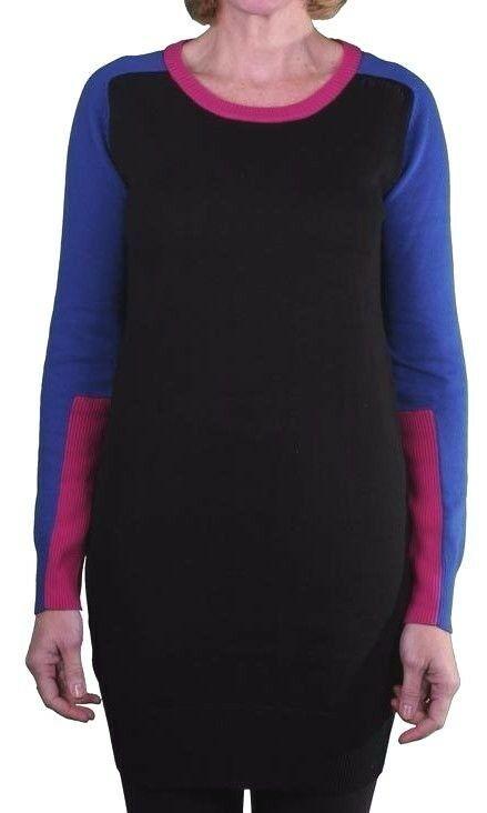Bench Schwarz Blau Fuchsia 100% Baumwolle Portch Freizeit Sweater Kleid BLSA1525