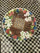 """mackenzie Childs 16"""" Berries And Blossoms melamine platter HTF Retired New - $127.71"""