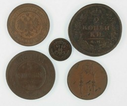 1812-1892 Russia Impero 5-Coin Set Zar Alessandro I/II/III & Nicola I/II - $69.63