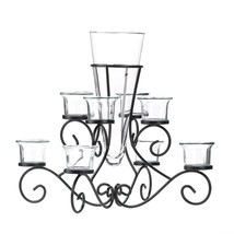 Candle Holders Glass, Jar Candle Holder Decor Scrollwork Candle Holder W... - $36.98
