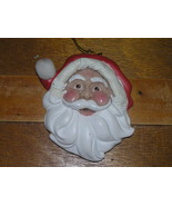 Plastic Resin SANTA CLAUS Head with Chubby Cheeks & Puff Ball on Hat Chr... - $7.69