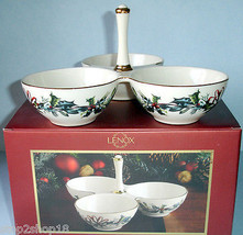 Lenox Winter Greetings Condiment Server 3 Section w/Center Handle New - $24.90