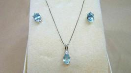 18K White Gold Sky Blue Topaz Pendant Necklace & 925 Earrings - $124.99