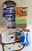 Newborn Baby Boy Mixed Lot Washcloths Socks Cap Bib Burp Cloth Flatware ... - $19.79