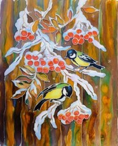 GREAT TITMOUSE BIRDS: Original fabric painting by Akimova,  winter - $27.00