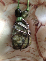 Epidote Wire Wrapped Necklace - $25.00