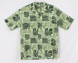Mens Hawaiian Shirt L size Royal Creations Hawaii Green Floral Aloha Vac... - $19.79