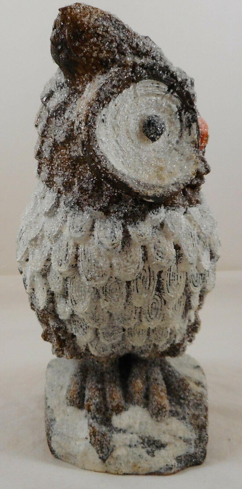 "Brown Owl On Stump Statue Figurine 8"" Glittery Glitter Resin"