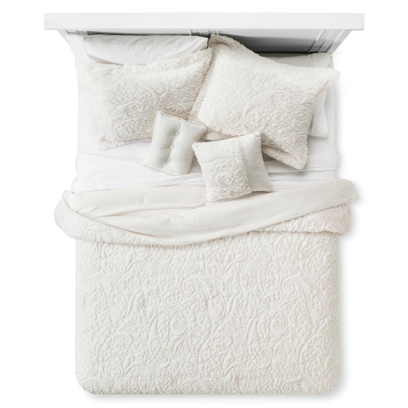 Embroidered Long Faux Fur Coverlet Set 5-Piece - KING SIZE