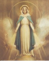 Catholic Print Picture OUR LADY of GRACE Virgin Mary C Bosseron Chambers... - $14.01