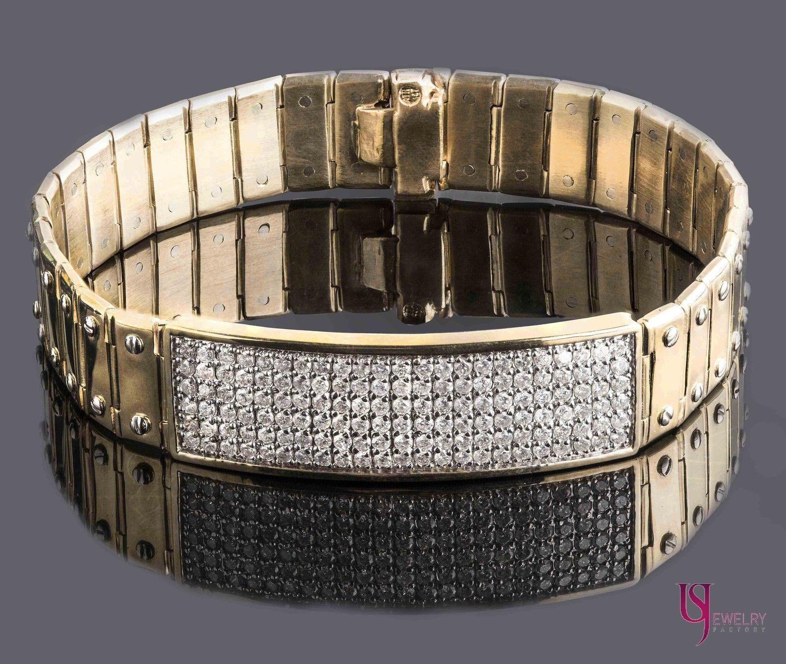 79f346f82 S l1600. S l1600. Previous. 2.90 Ct Men's ID Screw Link Diamond Bracelet  14k Solid Yellow Gold ...