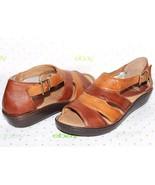"✿NURTURE Mylo Two-Tone Premium Leather 1"" Wedge Open-Toe Sandal 6 M NEW!... - $27.54"